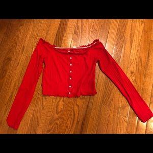 Red long sleeve crop top